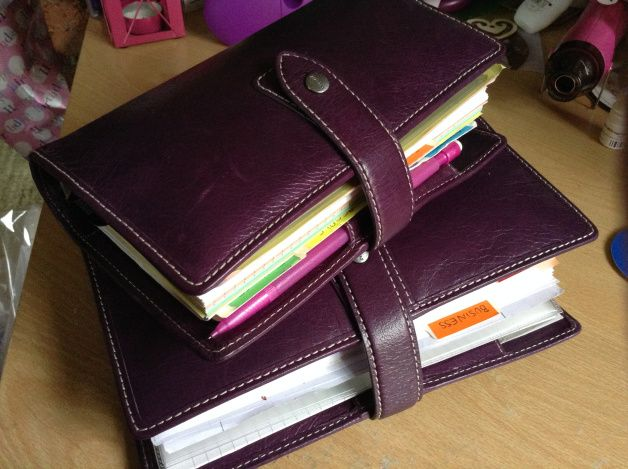 Filofax Malden Personal and A5 in Purple.  Personal is used for day to day activities while the A5 is used for project planning and idea generation for writing, research, etc.  Love it.
