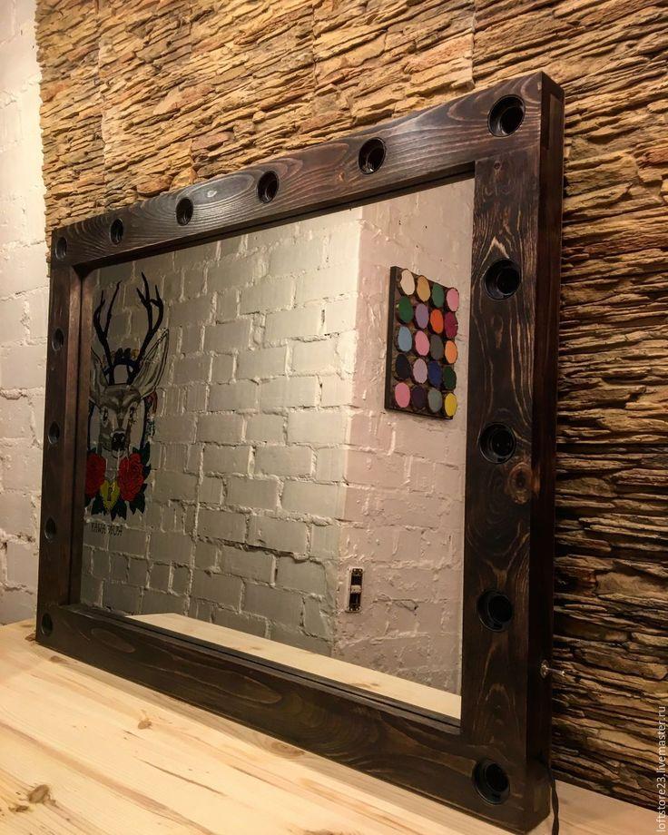 Купить Гримерное зеркало ESPRESSO - коричневый, гримерное зеркало, зеркало с патронами, зеркало с лампочками