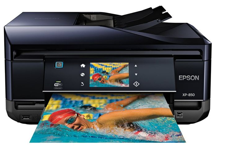 "Epson Expression Home XP-850 Wireless Color Photo Printer with Scanner, Copier & Fax C11CC41201. Superior photo quality with 6-color inks. Intuitive 3.5"" touchscreen with gesture navigation. Dedicated photo tray and specialty paper support. Auto 2-sided print/copy/scan plus 30-page ADF with color fax. EPSON Connect - convenient mobile printing."