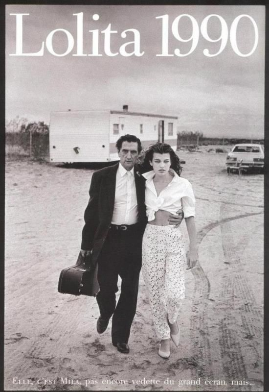 Milla Jovovich and Harry Dean Stanton photographed by Peter Lindbergh for Vogue Paris, May 1990.