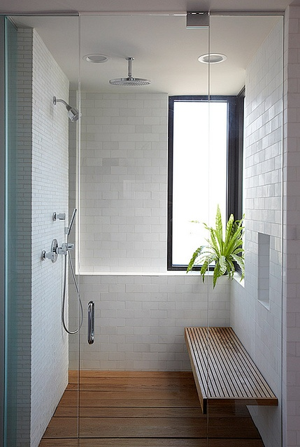 The rainfall showerhead is awesome, but would require replumbing.  Love this shower seat, but don't know how it would hold up over time.  Hard to clean?  Must have separate head and sprayer.  I like how the connection between the two is hidden behind the wall.  Add lights to the shower so its lit better.