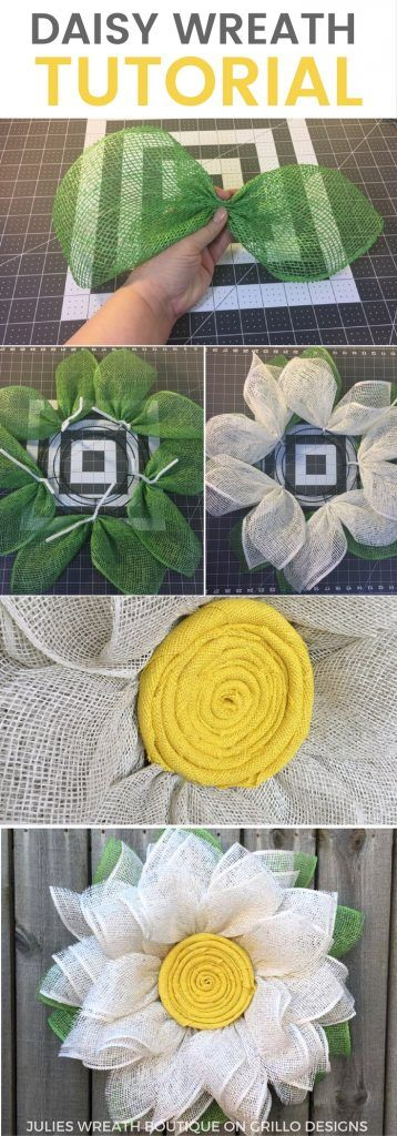 Burlap Daisy Wreath Tutorial - Learn how to make this one of a kind daisy wreath for your front door this spring! Click here for the full video tutorial / Grillo designs www/grillo-designs.com