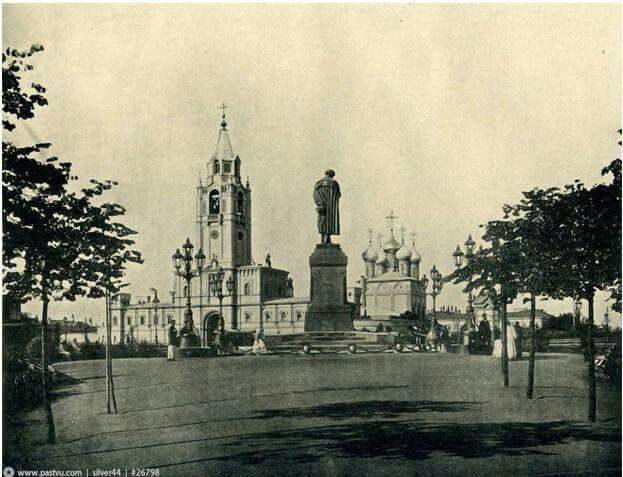 Strastnaya Square Moscow (with monument to Pushkin) as it was during Imperial Russian times.