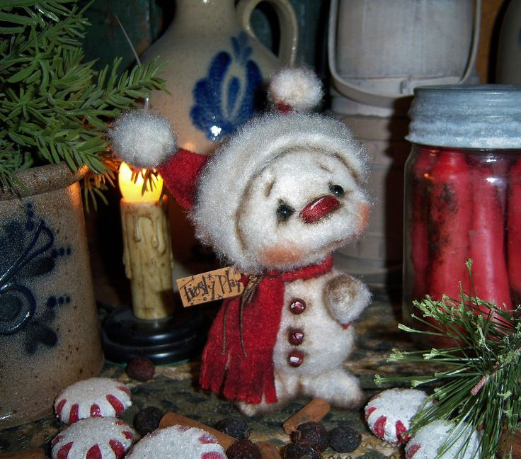 "Primitive Patti's Ratties 4"" Fuzzy Snowman Doll Snowflake Frosty Christmas Bear"