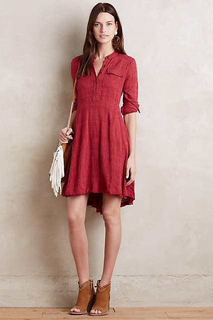 this looks like my kind of shirtdress. color, buttons partway down, rolled sleeves, more fit and flare shape but not tight. not sure about the hi-low hem, though