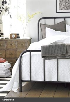 industrial farmhouse bedroom decorated in neutrals bed is from rh pinterest com