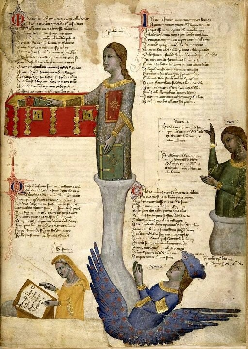 Four Muses. Convenevole da Prato. Title: Address in verse to Robert of Anjou, King of Naples, from the town of Prato in Tuscany (the 'Regia Carmina'). Origin: Italy, Central (Tuscany). Date c. 1335-c. 1340. Medieval Imago & Dies Vitae Idade Media e Cotidiano