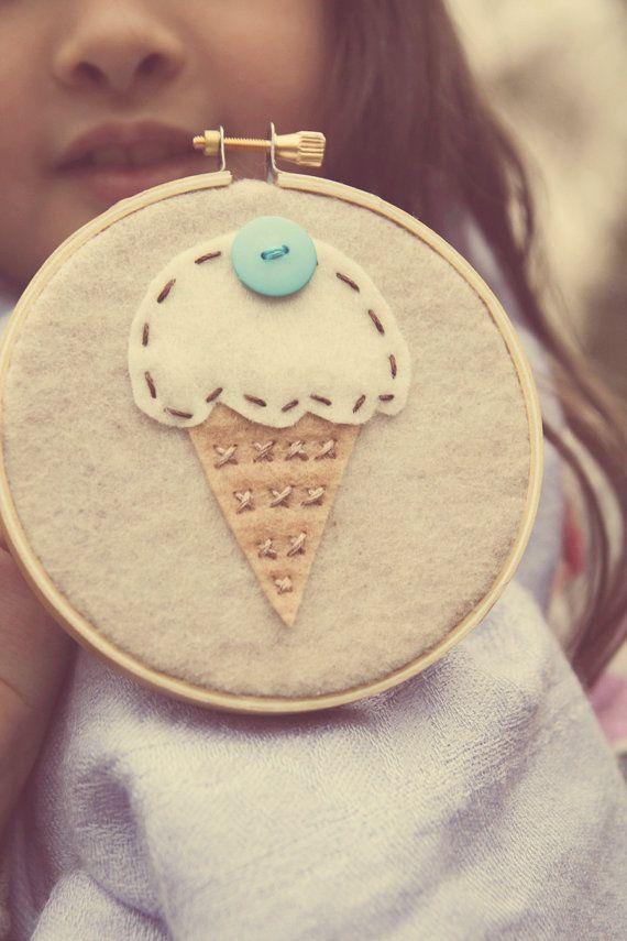 Embroidery Hoop Art Felt Ice Cream Cone with Aqua by CatshyCrafts, $40.00