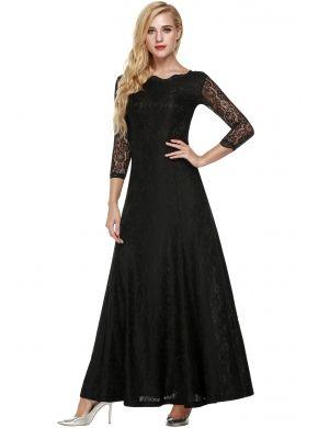 Siyah ANGVNS Bayan Dantel 2/3 Kollu Homecoming Uzun Elbiseler Maxi Kokteyl Partisi Fromal Akşam Düğün ve Nedime Elbiseleri