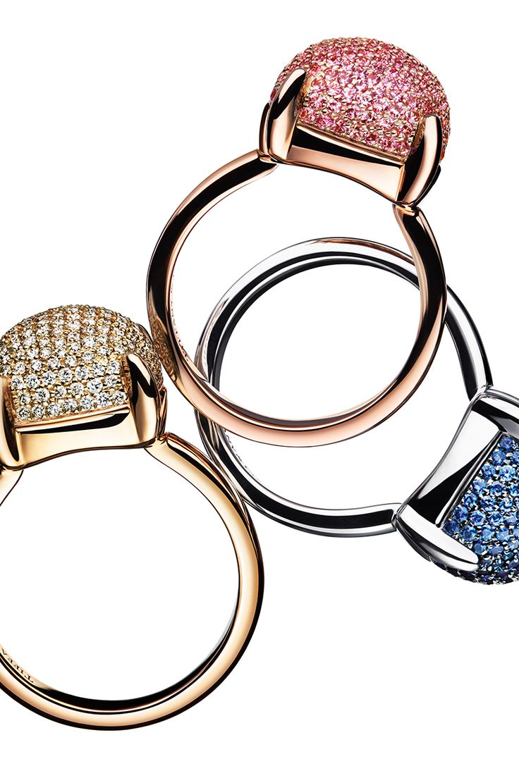 The sweetest thing. Paloma's Sugar Stacks rings in 18k rose gold with pink sapphires, 18k yellow gold with diamonds and 18k white gold with sapphires.