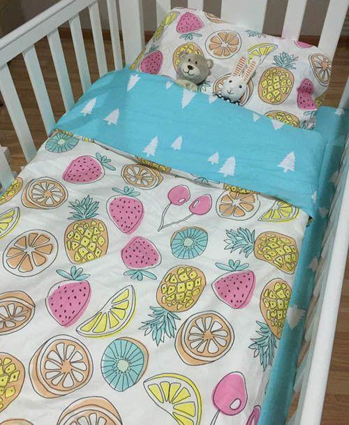 Tropical Pineapple 3Pc Cotton Toddler Bedding Set (Bed Sheet / Duvet Cover / Pillowcase)