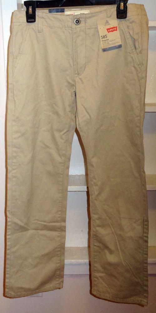 Nwt Levi's 505 Straight Leg Jeans Boys Beige 100% Cotton Size 16  #Levis