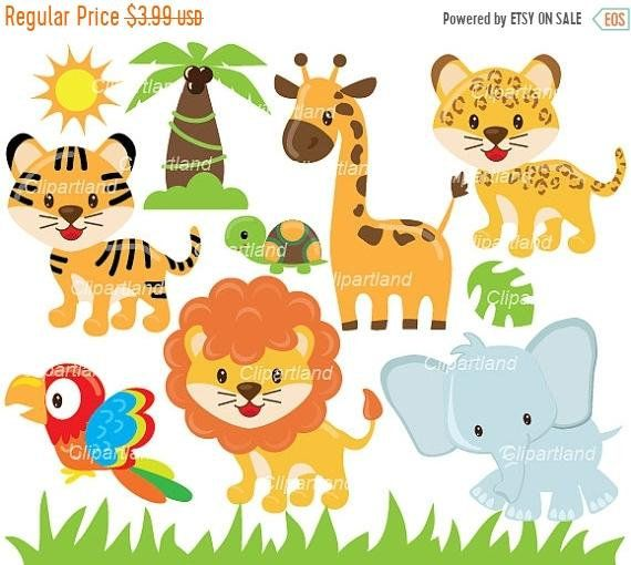 On Sale Instant Download Jungle Animals Clip Art Can 39 Animals Personal And Commercial Use In 2021 Animal Vector Illustration Clip Art Animals Clip Art