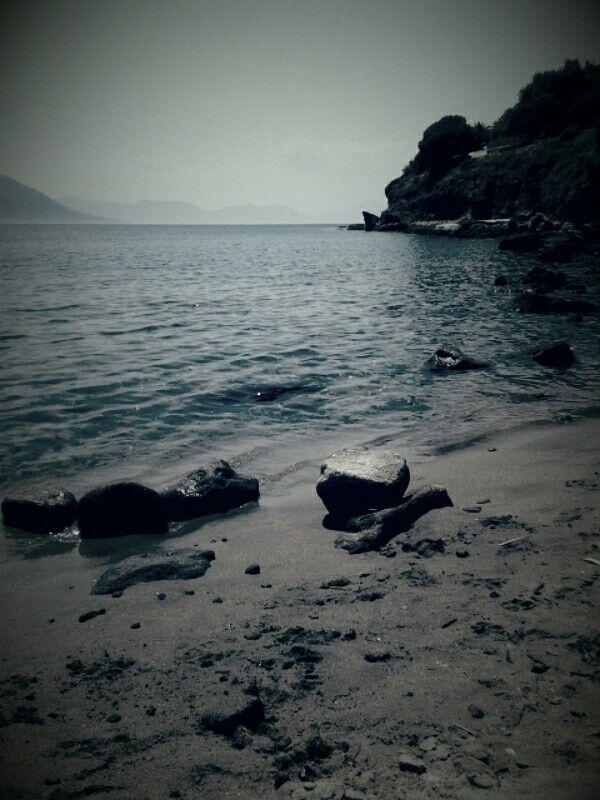 Mourioti beach in Aegina, Greece