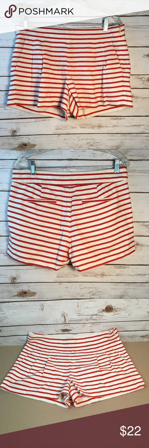 """J. Crew Red Striped Pleated Nautical Shorts J. Crew Red Striped Pleated Nautical Shorts.  Linen Cotton Blend. Size 8. Style #82107.  Pre owned - gently worn.  Length 13"""" waist measured across 16 1/4"""". Zips up side. J. Crew Shorts"""
