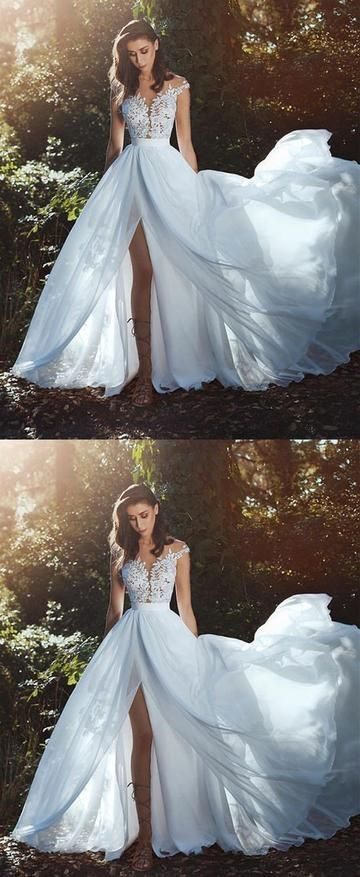 V-Neck Long Sleeves Backless Ivory Chiffon Wedding Dress with Lace, F0455 #weddi…
