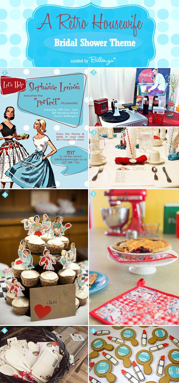 Let's go retro with cute 1950s housewife bridal shower theme! #retrobridalshowers #housewifebridalshowers
