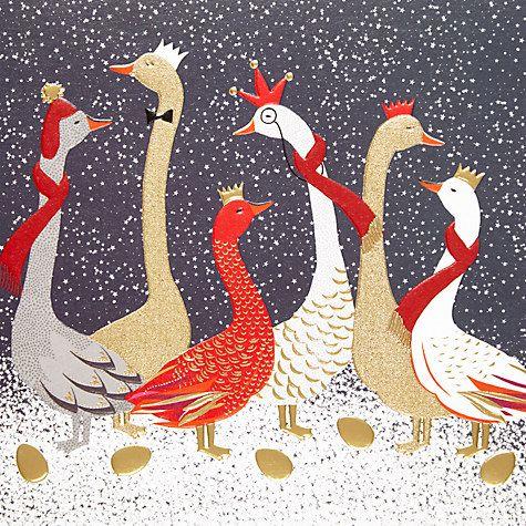 Buy Art File Sara Miller Festive Geese Luxury Christmas Cards, Pack of 8 Online at johnlewis.com