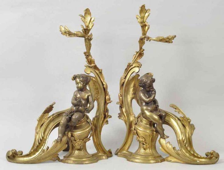 Paar Kaminböcke, Frankreich, Stil Louis V Bronze/Messing, feuervergoldet. Männlicher und weibliche