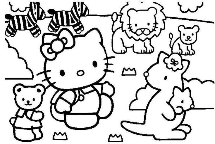 Coloriage hello kitty zoo viens t 39 amuser gratuitement - Comment dessiner hello kitty ...