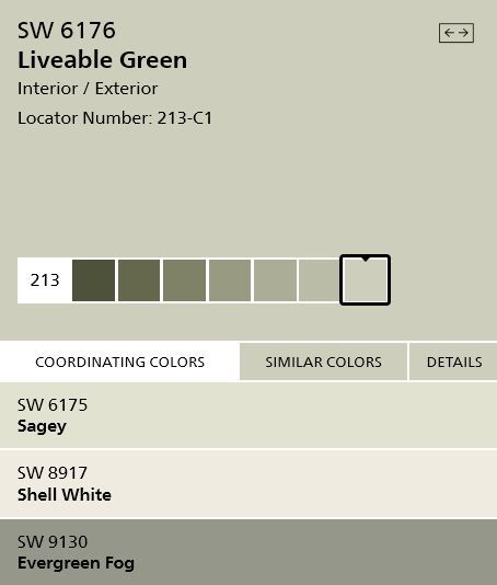 Sherwin Williams interior paint color 'Livable Green' SW6176 - silvery green #home