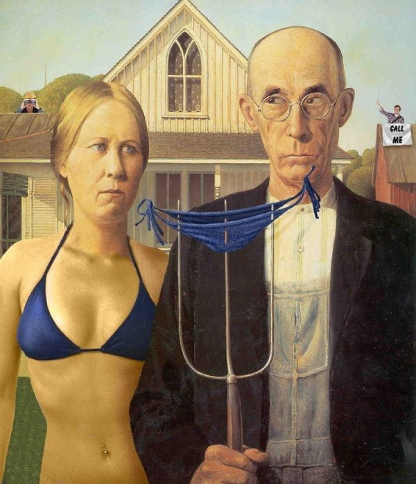 American Gothic Woman in a Bikini by Unknown Artist   http://www.freakingnews.com/American-Gothic-Woman-in-a-Bikini-Pictures-98105.asp