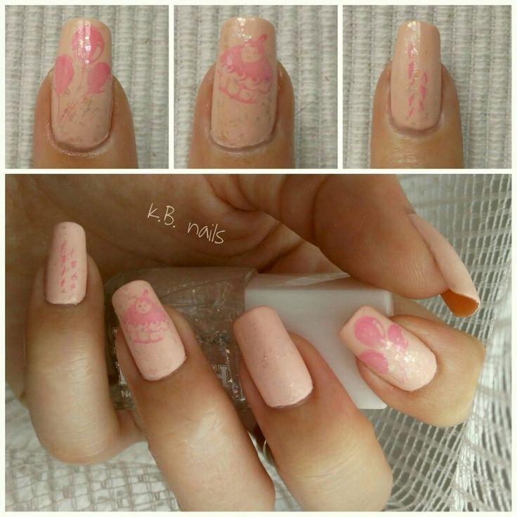#nails #nailsofinstagram #nailstagram #birthdaynails #niecebirthday #2yearsold #essencecosmetics #nautigirl #crewfirst #hmnailpolish #whiteglitter #stampingnailart #stamping #hmnailpolish #bubblegum