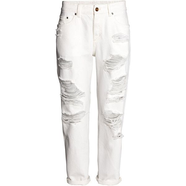 Boyfriend Low Ripped Jeans $39.99 (€36) ❤ liked on Polyvore featuring jeans, pants, bottoms, denim boyfriend jeans, white distressed boyfriend jeans, ripped jeans, boyfriend jeans and distressed denim jeans