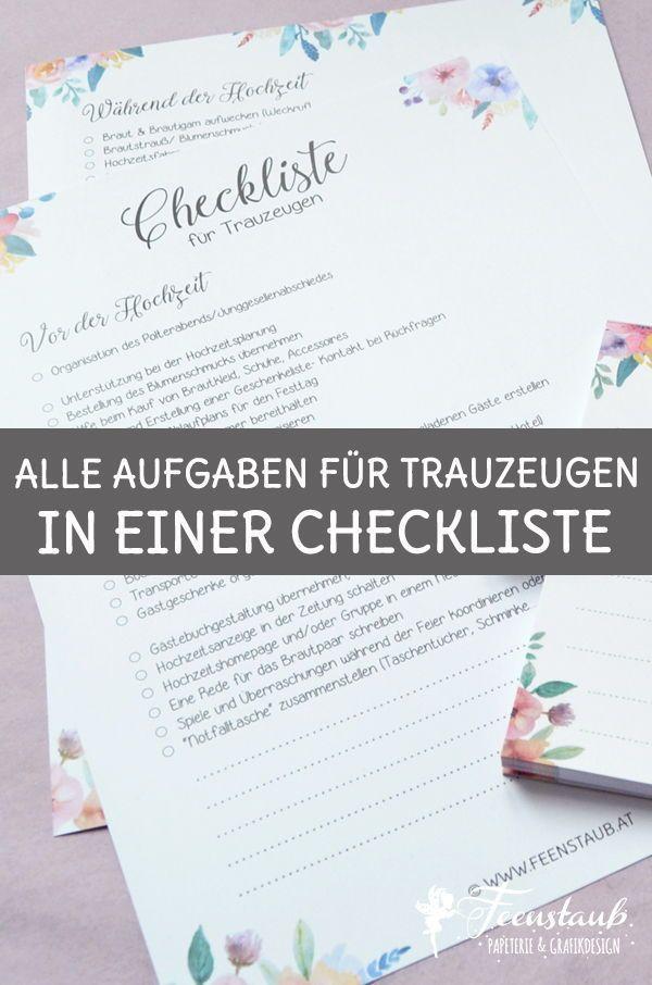 Trauzeugen Und Ihre Aufgaben Pdf Checkliste Zum Downloaden Trauzeuge Trauzeuge Checkliste Trauzeugin Checkliste