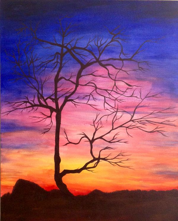 Tree silhouette Sunset acrylic paintings on Behance
