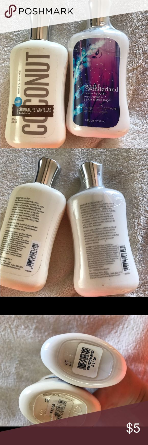 BATH N BODY WORKS LOTIONS 1 brand new and 1 open but not used. Sold together! Great smells.  Great bundle and add on item!               📦 Ships next day except Sundays. 🚫 NO TRADES Makeup
