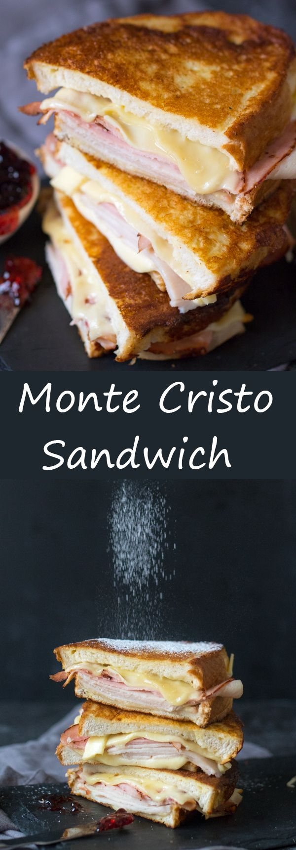 Monte Cristo Sandwich! Turkey, ham and melty cheese, SANDWICHED together between golden slices of french toast.