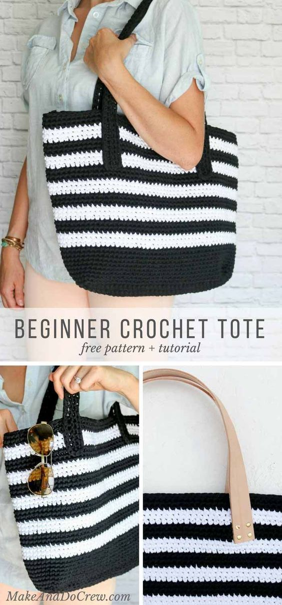 Classic meets modern in this crochet tote bag free pattern. Lion Brand Fast-Track yarn and optional leather handles elevate this easy purse--perfect for the beach, work or just general life. via @makeanddocrew