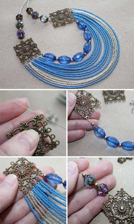 DIY Beaded Necklace | Мастер-класс по созданию ожерелья в морском стиле — своими руками, колье, ожерелье, бисер, украшение