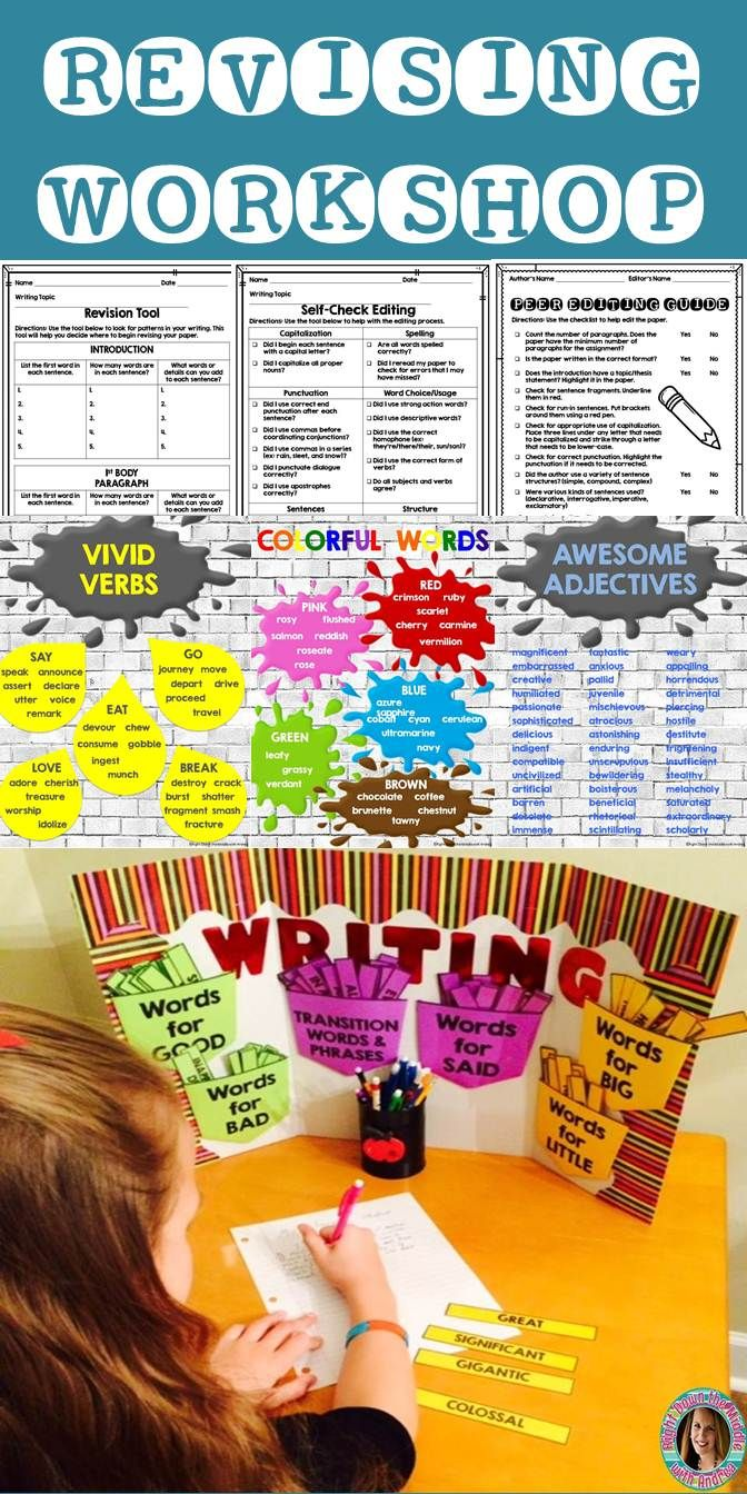 Revising and Editing is made simple with this handy resource. Students have access to forms to help with self-revision and also peer revising and editing. There are posters for revision and materials to create a writing center your students will love! -Right Down the Middle with Andrea