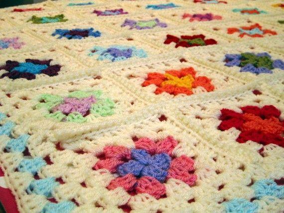 Crochet Baby Blanket Granny Chic Granny Squares Ivory Handmade