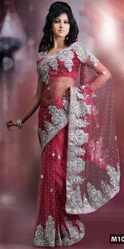 This Iced Deep Pink Net Saree With Blouse Is Fabulous Embellished SareeWedding SareesIndian OutfitsWedding