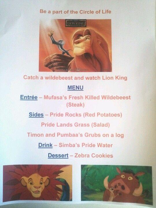 Disney Family Movie Night - The Lion King menu