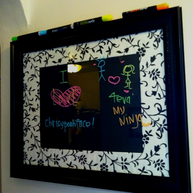 DIY black dry erase board. Any frame and black poster board behind the glass. Simple & easy.