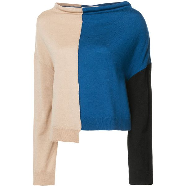 Marni asymmetric colour block sweater ($1,240) ❤ liked on Polyvore featuring tops, sweaters, roll-neck sweaters, multi colored sweater, multicolor sweater, long sleeve tops and woolen sweater