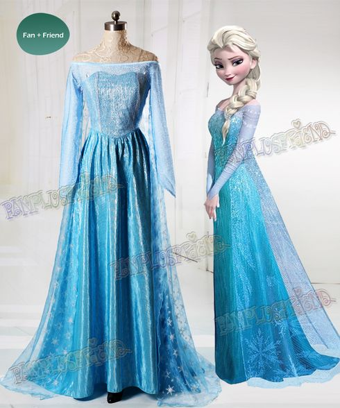 Frozen (Disney Movie) Cosplay Elsa Costume Outfit