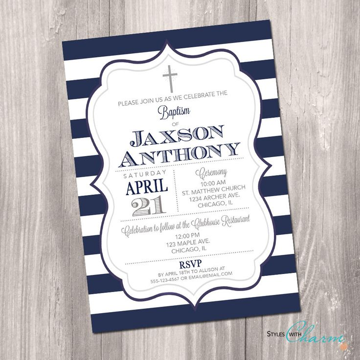Baptism Invitation, First Communion Invitation, Boy Baptism Invitation, Christening Invitation, Navy blue stripes, Printable Invitation by StyleswithCharm on Etsy https://www.etsy.com/uk/listing/273613872/baptism-invitation-first-communion