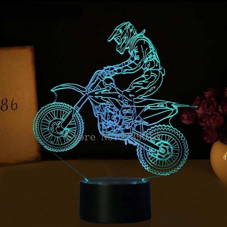Rechargeable 3d Motocross Bike Lamp Comes With Built In Lithium Ion Battery And Usb Cable It