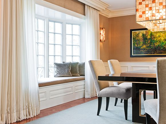 Bay windows add a lovey architectural detail. | Leslie Fine Interiors