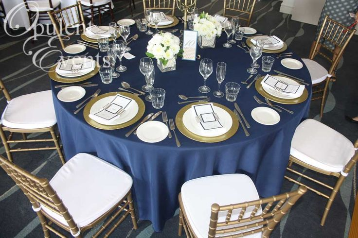 Gold and Navy Wedding: Gold Tiffany Chair, Navy linens, gold charger plates at the Anchorage, Port Stephens