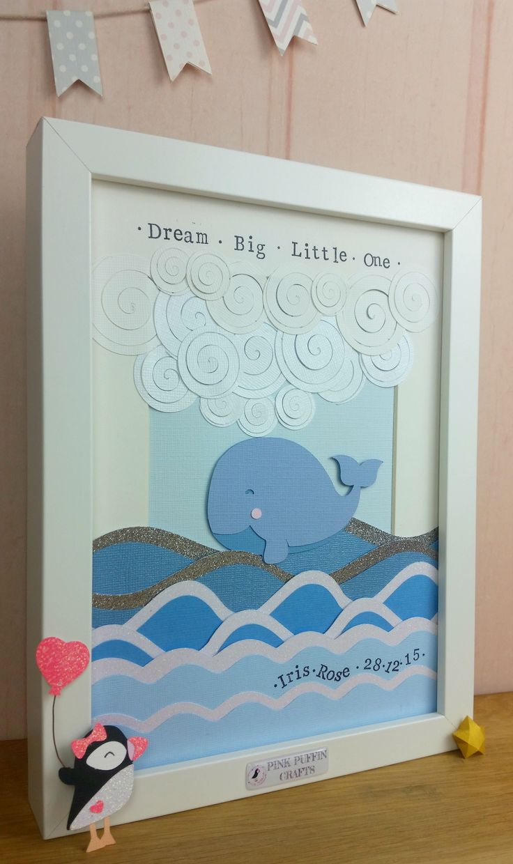 Whale Dreams Wall Art | Pink Puffin Crafts | £25 | Paper cut | Baby | www.pinkpuffincrafts.co.uk