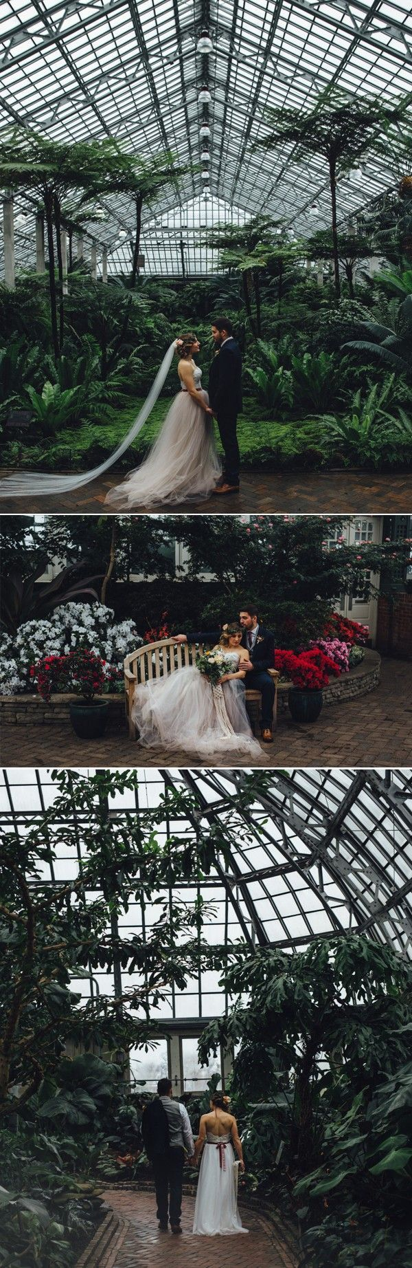 Greenhouse spaces offer lush, natural wedding environments | Erika Mattingly Photography #conservatorygreenhouse