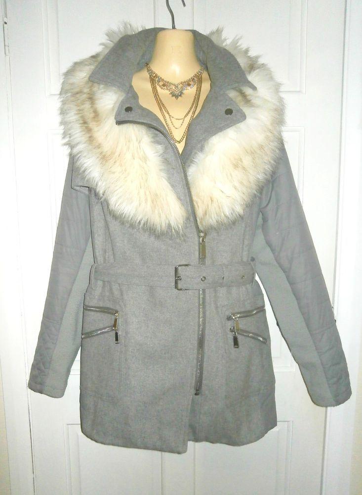 3e7325bbb64 STUNNING RIVER ISLAND GREY FAUX FUR LARGE COLLAR WINTER COAT PLUS SIZE 18   fashion  clothing  shoes  accessories  womensclothing  coatsjacketsvests  (ebay ...