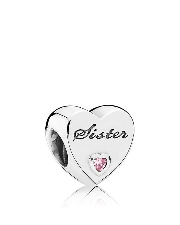 "Pandora Charm - Sterling Silver & Cubic Zirconia Sister's Love, Moments Collection | Imported | Style #791946CZ | Shop <a href=""http://www1.bloomingdales.com/shop/pandora/Bopsradius,Jewelry_and_access"