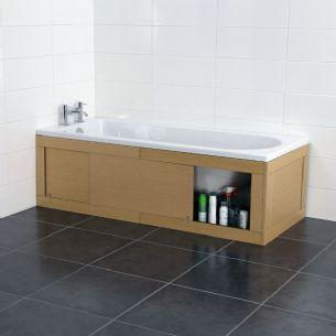 Croydex Unfold 'N' Fit Light Wood Bath Panel with Lockable Storage Light Oak